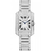 Cartier Tank Anglaise Silver Dial White Gold and Diamond Ladies Replica Watch HPI00559
