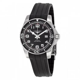Longines Hydroconquest Black Dial Black Rubber Replica Watch