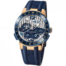 Ulysse Nardin El Toro GMT Silver Dial 18kt Rose Gold Blue Rubber Replica Watch 326-00-3