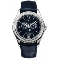 Patek Philippe Complications Annual Calendar Blue Dial 18kt White Gold Diamond Blue Replica Watch 5147G-001