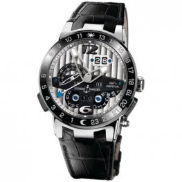 Ulysse Nardin El Toro GMT Silver Dial Platinum Black Replica Watch 329-00