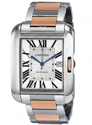 Replica Cartier Tank Anglaise XL Rose Gold and Steel Men's Watch W5310006