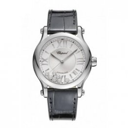Chopard Happy Sport Automatic Silver Diamond Date Dial Black Ladies Replica Watch 278559-3001