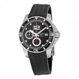 Longines HydroConquest Chronograph Black Dial Black Rubber Replica Watch