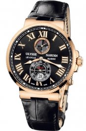 Replica Ulysse Nardin Marine Chronometer Rose Gold Black Dial 266-67/42