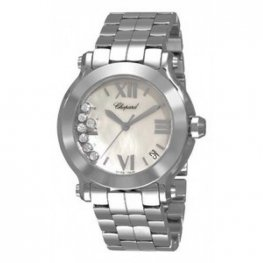 Chopard Happy Sport Mother of Pearl Dial Date Floating Diamond Ladies Replica Watch 278477-3002