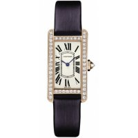 Cartier Tank Americaine Silver Dial Blue Satin Ladies Replica Watch WB707931