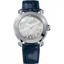 Chopard Happy Sport Mother of Pearl Dial Date Blue Ladies Replica Watch 278475-3002