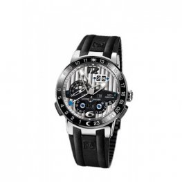Ulysse Nardin El Toro GMT Silver Dial Platinum Black Rubber Replica Watch UN329-00-3
