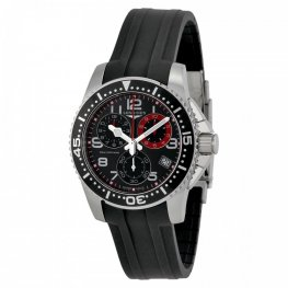 Longines HydroConquest Black Dial Case Black Rubber Strap Replica Watch