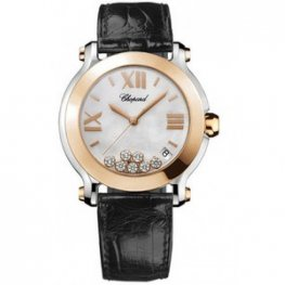 Chopard Happy Sport Mother of Pearl Dial Date Floating Diamond 18ct Rose Gold Bezel Black Ladies Replica Watch 278492-9004
