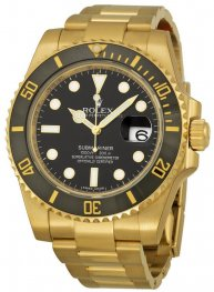 Replica Rolex Submariner Black Index Dial Yellow Gold 116618BKSO