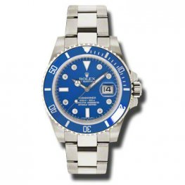 Rolex Submariner Gold Blue Automatic 18kt White Gold Oyster Replica Watch 116619BLDO