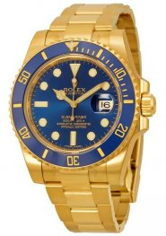 Replica Rolex Submariner Blue Dial Yellow Gold 116618BLSO