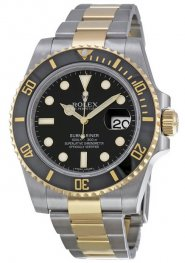 Replica Rolex Submariner Black Index Dial Stainless Steel and Yellow Gold 116613BKSO