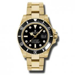 Rolex Submariner Black Dial 18kt Yellow Gold Bracelet Replica Watch 116618