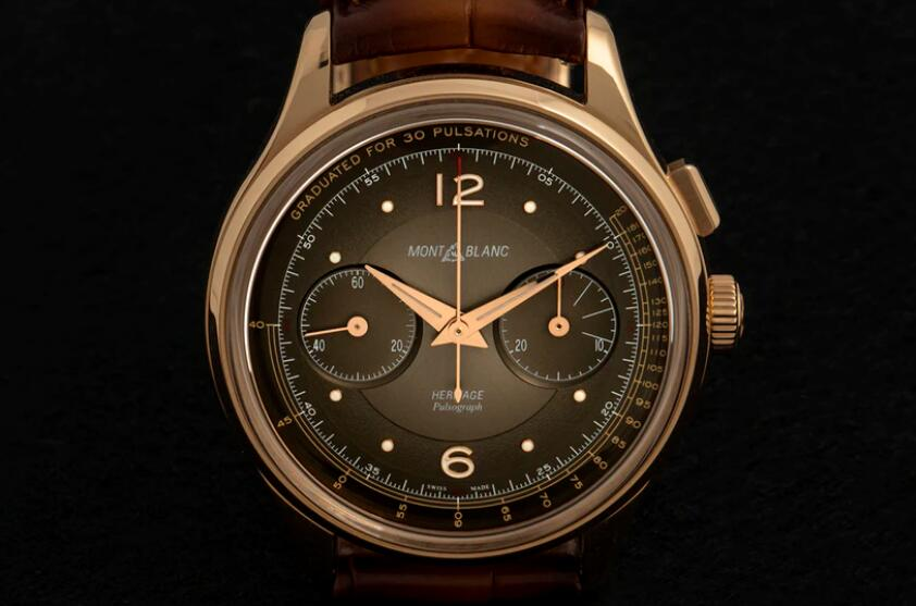 Special Edition Replica Montblanc Heritage Manufacture Pulsograph Rose Gold Chronographs